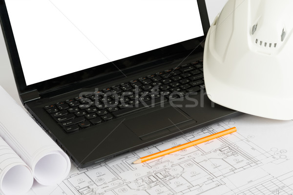 Drafts and laptop with white screen Stock photo © cherezoff