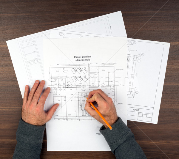 Mans hands drawing drafts Stock photo © cherezoff