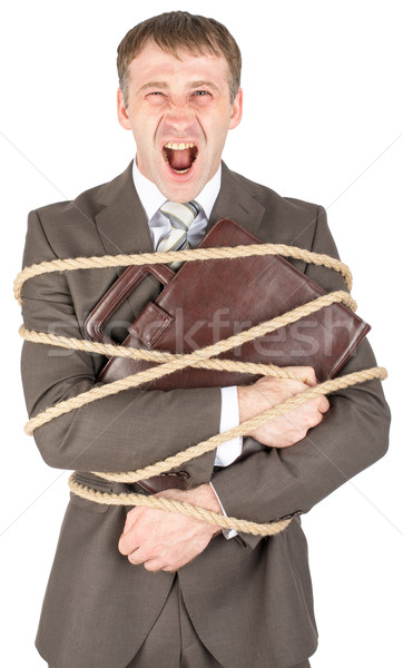 Businessman tied with rope screaming Stock photo © cherezoff