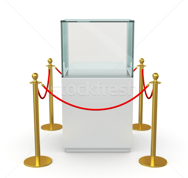 Empty glass showcase with barrier rope Stock photo © cherezoff
