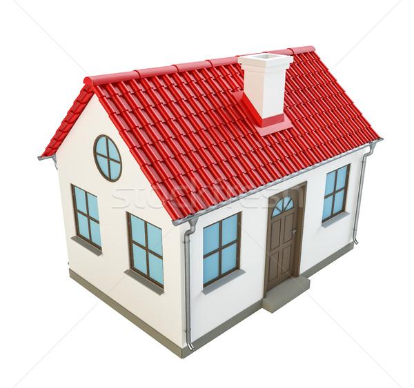Stok fotoğraf: Güzel · model · ev · kırmızı · çatı · yüksek