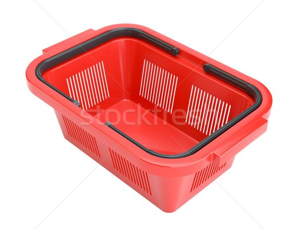 Piros bevásárlókosár 3D renderelt illusztráció izolált Stock fotó © cherezoff