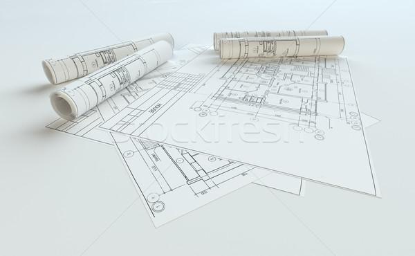 Rolled House Blueprints On Gray Background Stock photo © cherezoff
