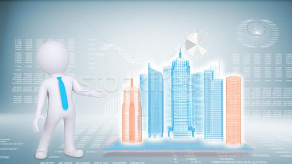 Pessoas edifício azul futuro tecnologia homem Foto stock © cherezoff