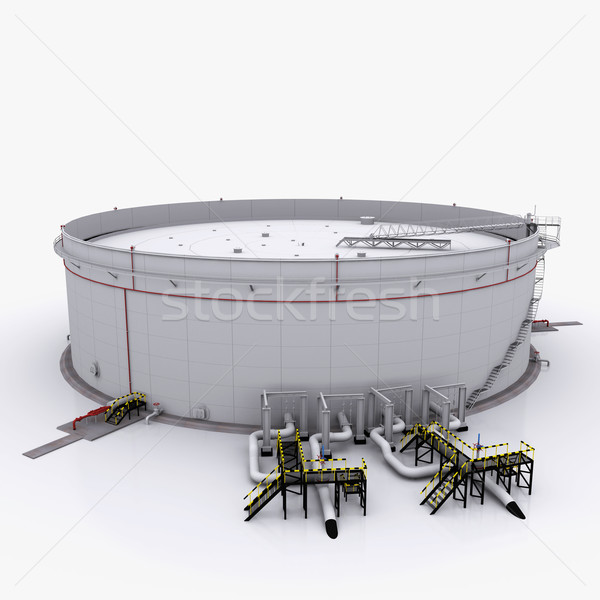 Large oil tank with floating roof Stock photo © cherezoff
