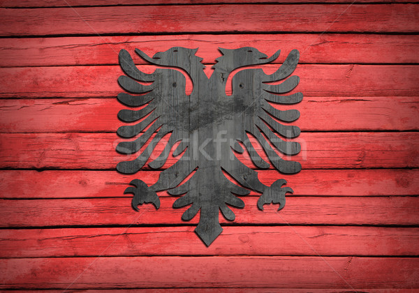 Albanian flag painted on wooden boards Stock photo © cherezoff