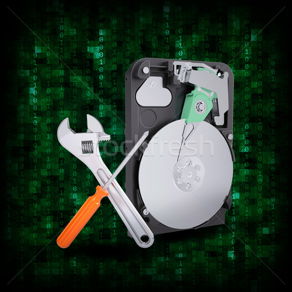 HDD with magnifying glass and adjustable wrench Stock photo © cherezoff