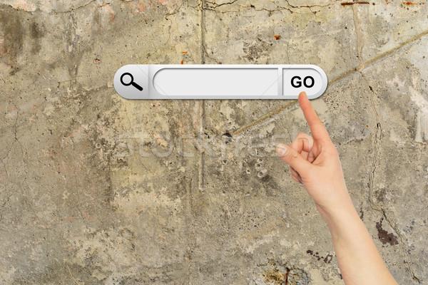 Menselijke hand Zoek bar browser bruin Stockfoto © cherezoff