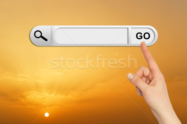 Emberi kéz keresés bár böngésző naplemente napfelkelte Stock fotó © cherezoff