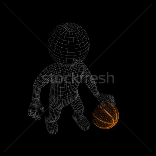 Wire-frame man with orange basket-ball Stock photo © cherezoff