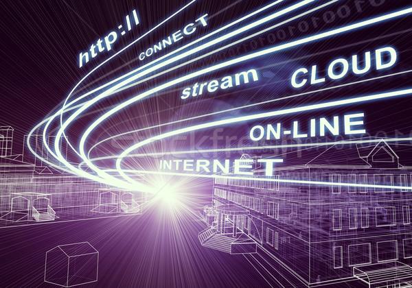 Budynków świetle słowa jak Internetu Zdjęcia stock © cherezoff
