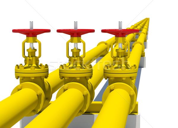 Três amarelo pipes isolado branco metal Foto stock © cherezoff