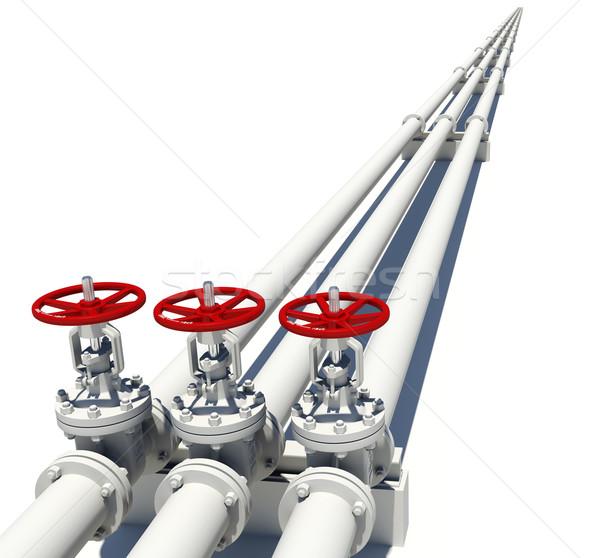 Trois blanche tuyaux isolé métal Photo stock © cherezoff