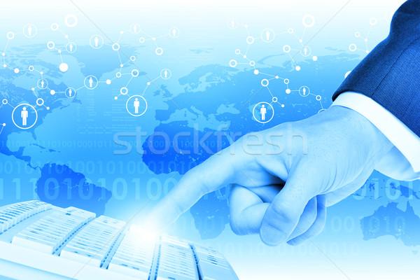 Stockfoto: Hand · aanraken · toetsenbord · abstract · Blauw · wereldkaart