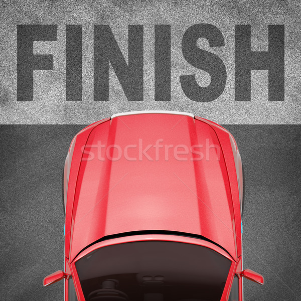 Red car on grey texture background with word Stock photo © cherezoff