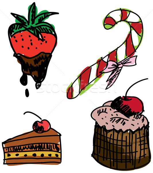 甘い食べ物 白 チョコレート ケーキ ストックフォト © cherezoff