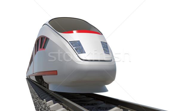 Modern tren uzun yalıtılmış beyaz Stok fotoğraf © cherezoff