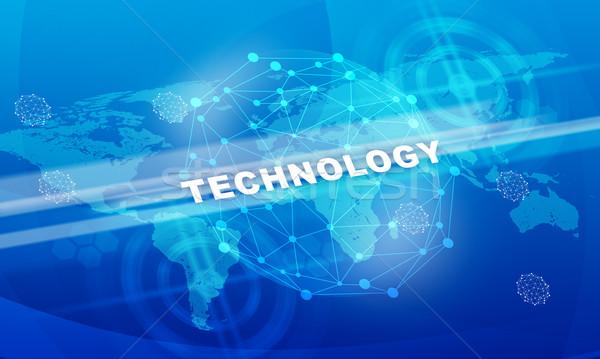 технологий слово Мир карта аннотация синий Сток-фото © cherezoff