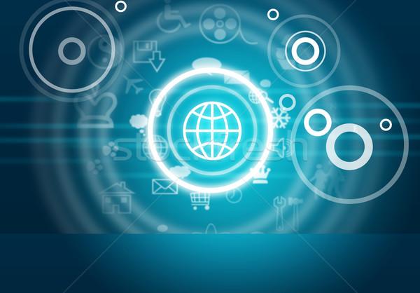 ícones do computador azul abstrato círculos computador Foto stock © cherezoff