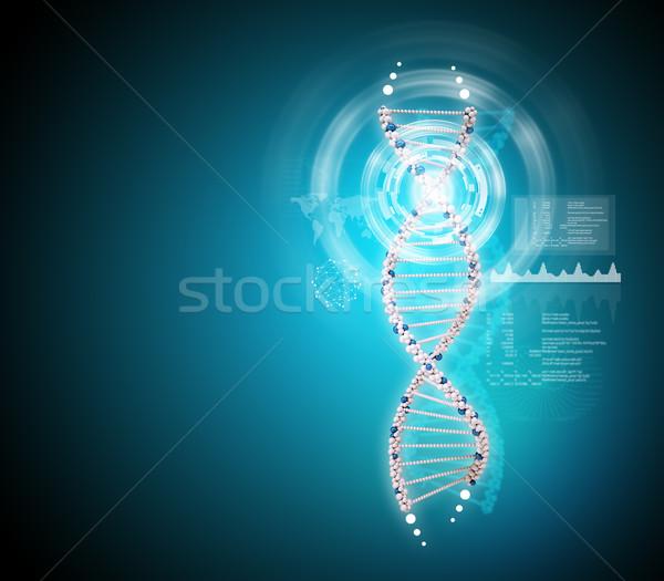 Dna Blauw abstract wereldkaart wereld geneeskunde Stockfoto © cherezoff