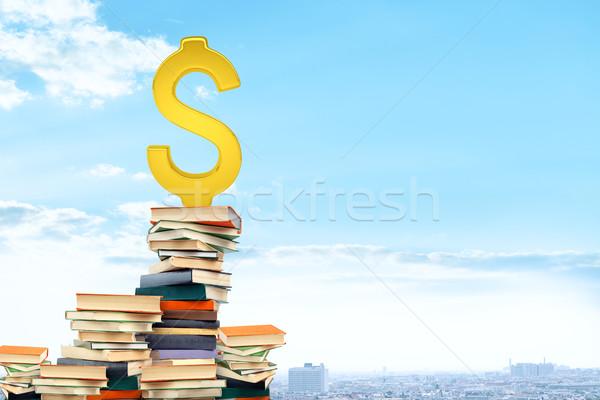 Cifrão livros cityscape papel livro Foto stock © cherezoff