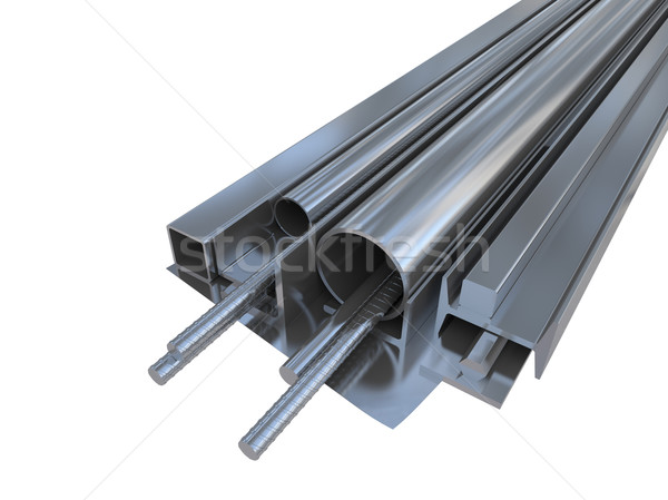 Black metal pipes, angles, channels, squares Stock photo © cherezoff