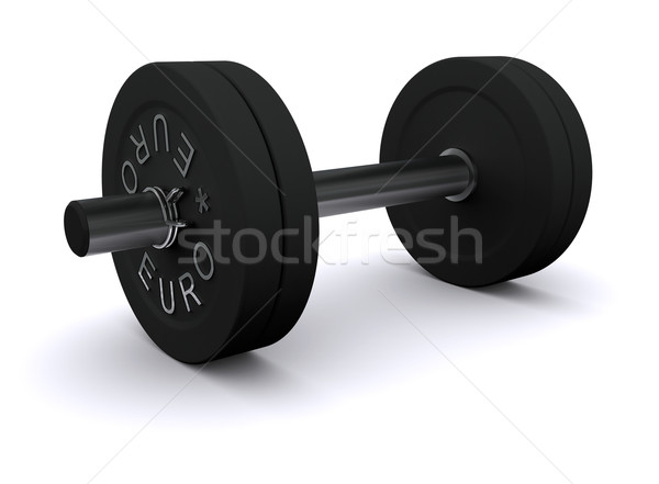 Black dumbbell on a white background Stock photo © cherezoff