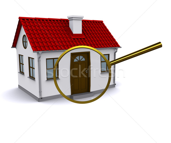 Magnifying glass to enlarge or reduce the elements of the house Stock photo © cherezoff