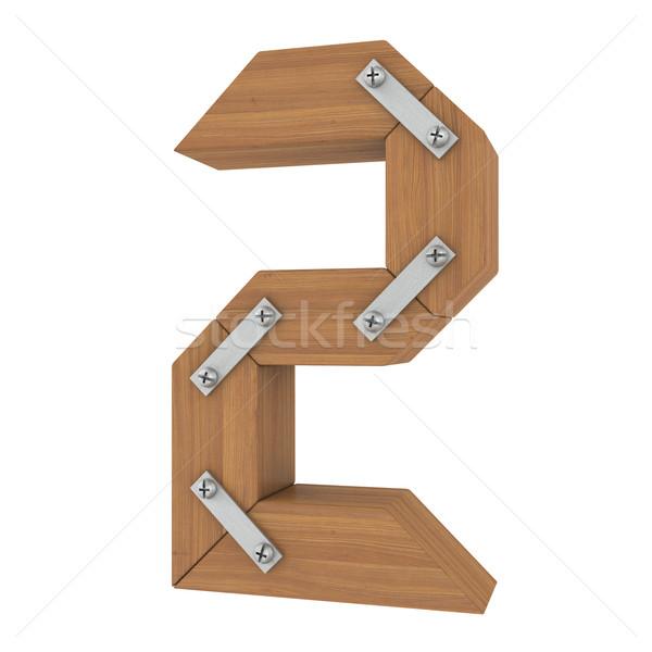 木製 番号 2 孤立した レンダー 白 ストックフォト © cherezoff
