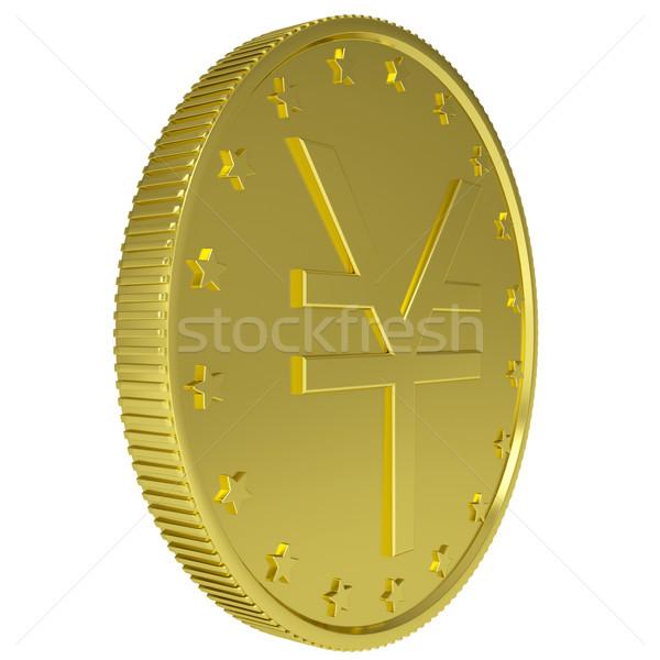 Altın yen yalıtılmış vermek beyaz para Stok fotoğraf © cherezoff
