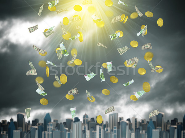 Золотые монеты падение небе город драматический Сток-фото © cherezoff