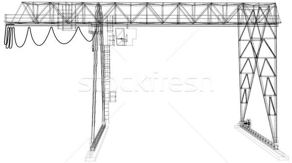 Gantry crane. Wire-frame. Vector rendering of 3d Stock photo © cherezoff