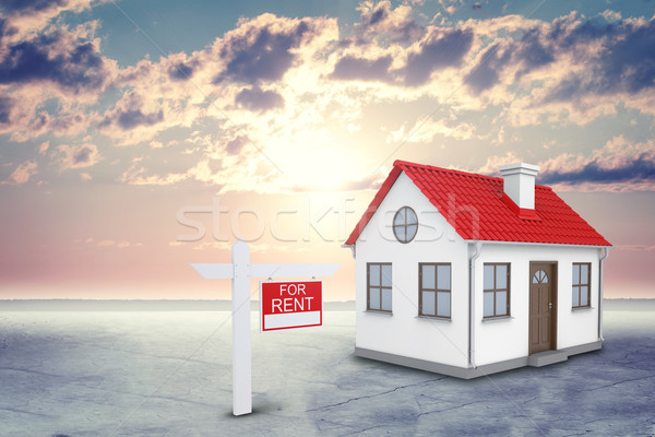 White house with red roof and chimney. Near there is signboard for rent. Background sun shines brigh Stock photo © cherezoff