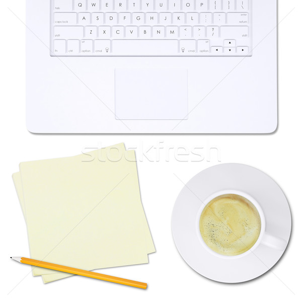 White laptop and note paper with pencil, top view Stock photo © cherezoff