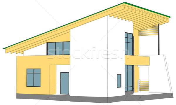 Casa blanca verde techo aislado blanco vista lateral Foto stock © cherezoff