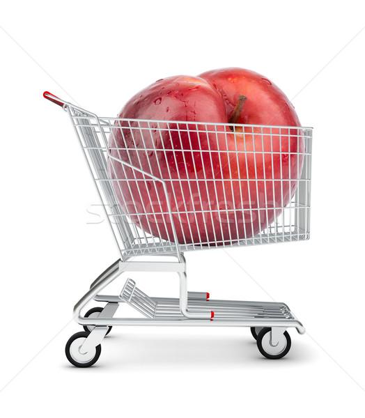 Nectarine panier isolé blanche magasin fer Photo stock © cherezoff