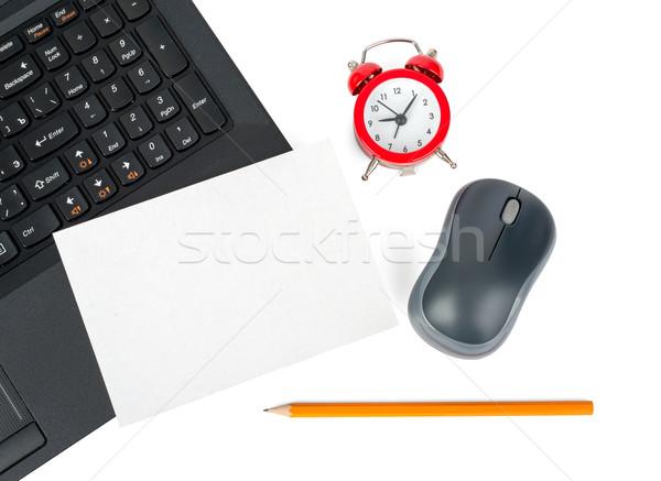 Dizüstü bilgisayar boş kart kredi kartı yalıtılmış beyaz bilgisayar Stok fotoğraf © cherezoff