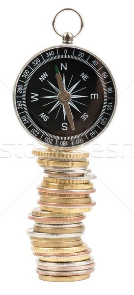 Foto stock: Bússola · moedas · isolado · branco · dinheiro