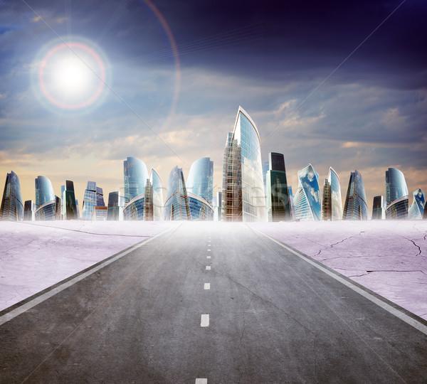 шоссе дороги город современных Blue Sky бизнеса Сток-фото © cherezoff