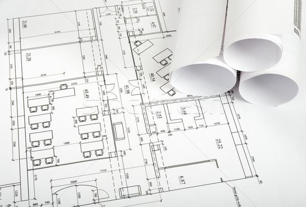Architektur · Plan · Rollen · Blaupausen · Seitenansicht · Gebäude ...