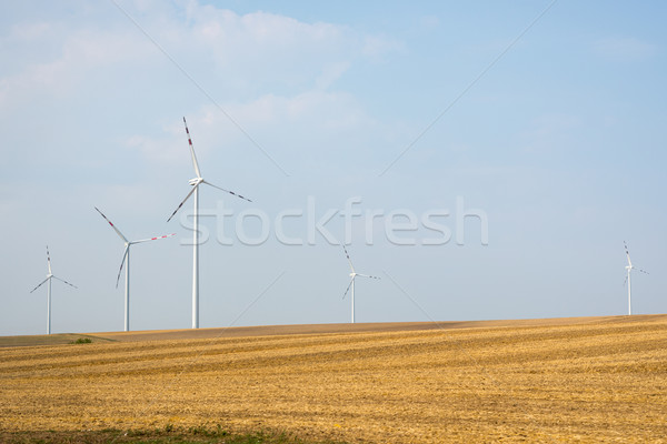 Fields and wind power stations Stock photo © cherezoff