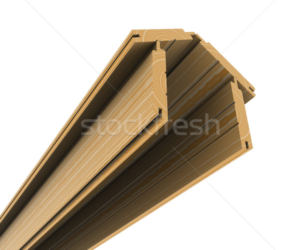 Wooden boards stacked in the shape of the house Stock photo © cherezoff