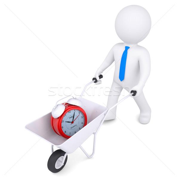 3d white man carries wheelbarrow of alarm clock Stock photo © cherezoff
