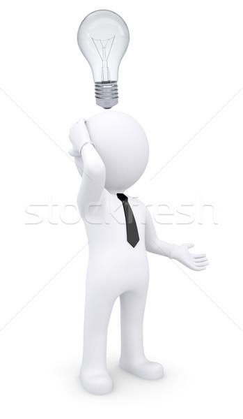 困惑して 白 3次元の男 電球 頭 孤立した ストックフォト © cherezoff