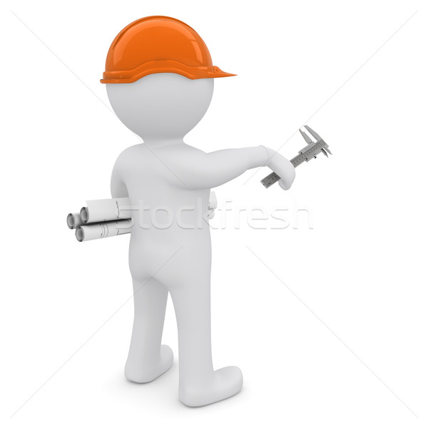 The white man in an orange helmet with the drawings indicate the forward hand Stock photo © cherezoff