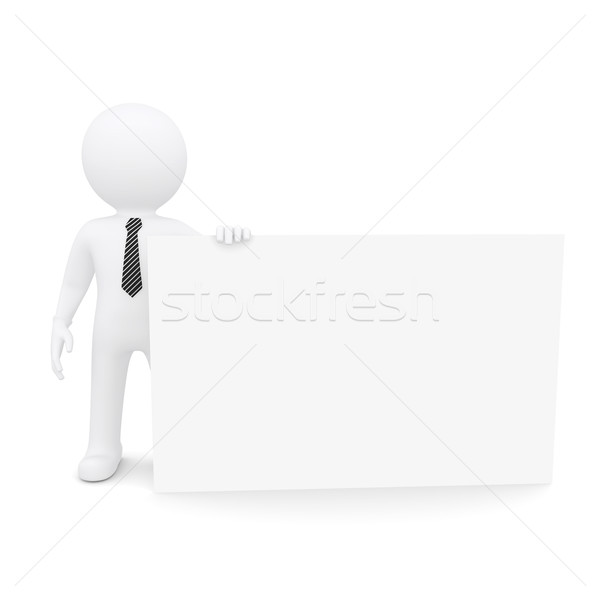 Blanke man groot witte kaart geïsoleerd Stockfoto © cherezoff