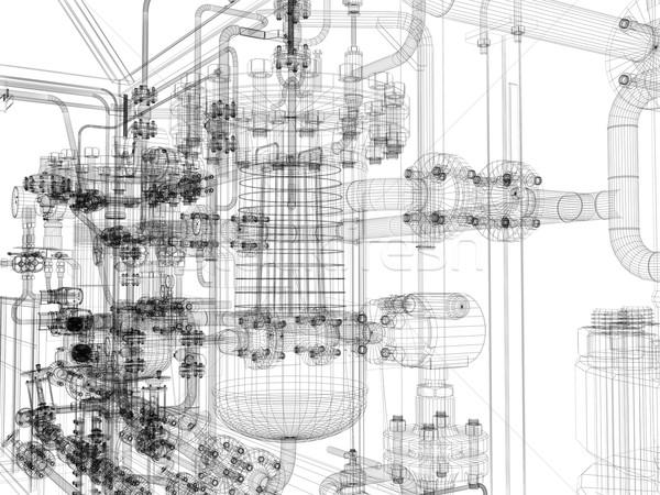 Industrial equipment. Wire-frame render Stock photo © cherezoff