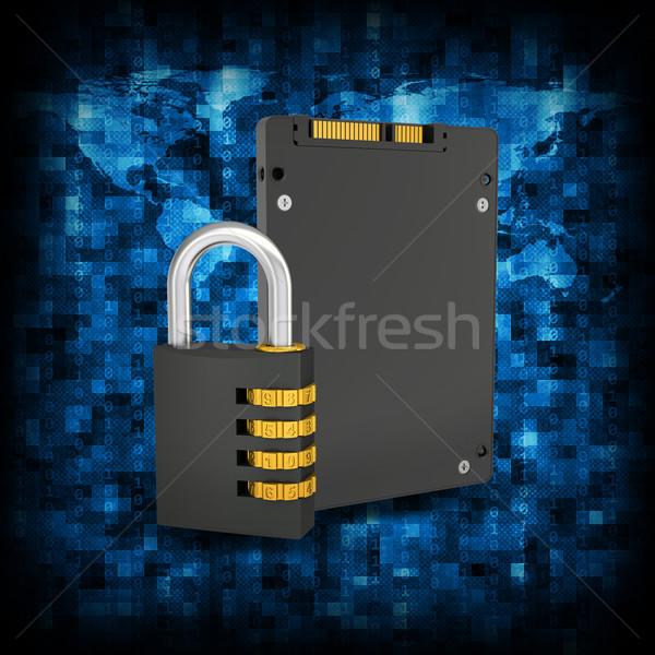 Binary code and SSD with combination lock Stock photo © cherezoff