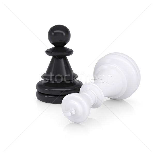 Blanco rey del ajedrez negro ajedrez éxito Foto stock © cherezoff