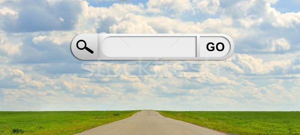 Stockfoto: Menselijke · hand · Zoek · bar · browser · groen · gras · weg